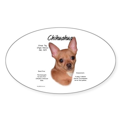 Smooth Chihuahua Oval Sticker