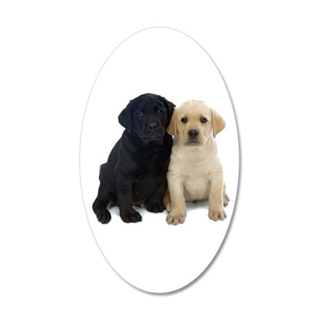 Black and White Labrador Puppies. 20x12 Oval Wall