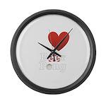 i-love-beer-pong-3-dark.png Large Wall Clock