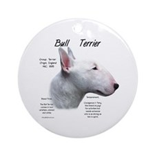 White Bull Terrier Ornament (Round)