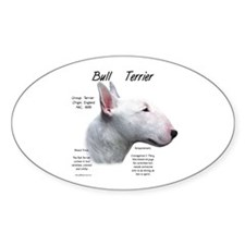 White Bull Terrier Oval Decal