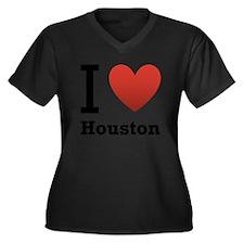 i-love-houston.png Women's Plus Size V-Neck Dark T
