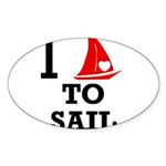i-love-to-sail.png Sticker (Oval 10 pk)