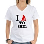 i-love-to-sail.png Women's V-Neck T-Shirt