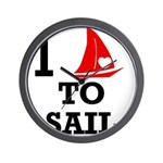 i-love-to-sail.png Wall Clock