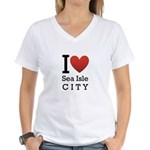 sea isle city rectangle.png Women's V-Neck T-Shirt