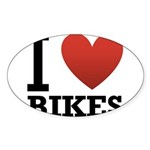 i-love-bikes.png Sticker (Oval 10 pk)
