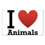 i-love-animals.png Sticker (Rectangle 10 pk)