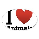 i-love-animals.png Sticker (Oval 10 pk)