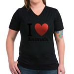 i-love-animals.png Women's V-Neck Dark T-Shirt