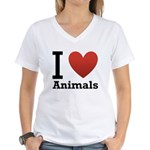 i-love-animals.png Women's V-Neck T-Shirt