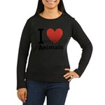 i-love-animals.png Women's Long Sleeve Dark T-Shir