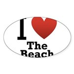 i-love-the-beach.png Sticker (Oval 10 pk)