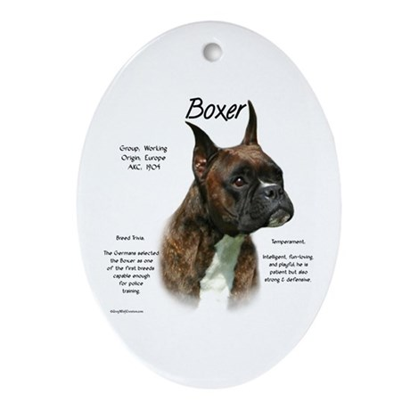 Brindle Boxer Oval Ornament