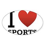 I Love Sports Sticker (Oval 10 pk)