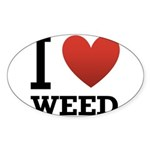 i-love-weed.png Sticker (Oval 50 pk)