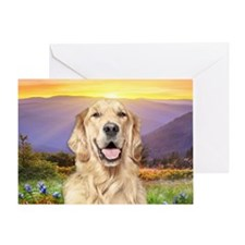 Golden Retriever Meadow Greeting Card