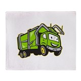 Garbage Rubbish Truck Cartoon Throw Blanket
