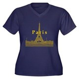 Paris Women's Plus Size V-Neck Dark T-Shirt
