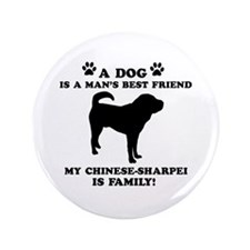 "Chinese Shar-Pei Dog Breed Designs 3.5"" Button (10"