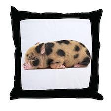 Micro pig sleeping Throw Pillow
