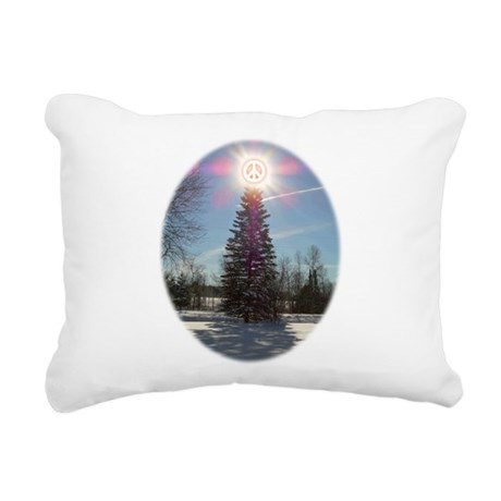 xmaspeaceovalsf.png Rectangular Canvas Pillow