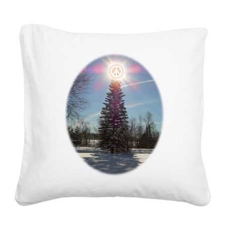 xmaspeaceovalsf.png Square Canvas Pillow