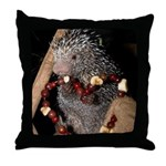 Porcupine With Berry Heart Throw Pillow