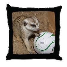 Meerkat on Soccer Ball Throw Pillow