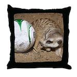 Meerkat With Soccer Ball Throw Pillow