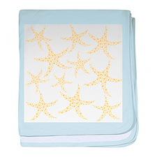 Yellow Dotty Starfish. baby blanket