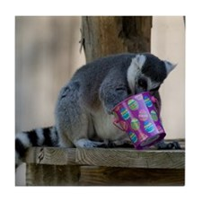 Lemur With Easter Bucket Tile Coaster