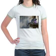Lemur With Easter Bucket Jr. Ringer T-Shirt