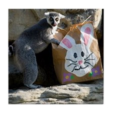 Lemur In Easter Bag Tile Coaster