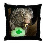 Porcupine with Shamrock Throw Pillow