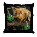 Golden Lion Tamarin with Shamrock Throw Pillow