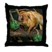 Golden Lion Tamarin with Shamrock Throw Pillow