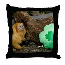 Golden Lion Tamarin Next To Shamrock Throw Pillow