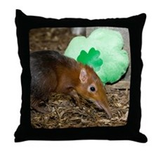Elephant Shrew with Shamrock Throw Pillow