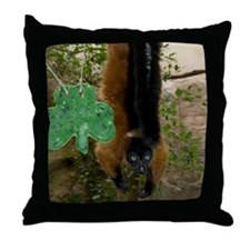 Red Ruffed Lemur with Shamrock Throw Pillow