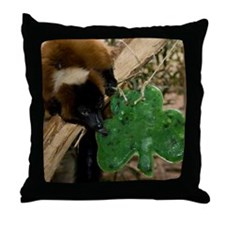 Red Ruffed Lemur Eating Shamrock Throw Pillow