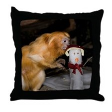 Golden Lion Tamarin With Snowman Throw Pillow