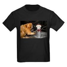 Golden Lion Tamarin With Snowman Kids Dark T-Shirt