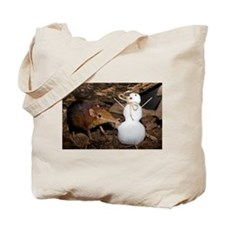 Elephant Shrew with Snowman Tote Bag