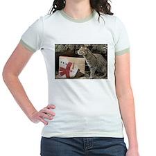 Ocelot with Snowman Bag Jr. Ringer T-Shirt
