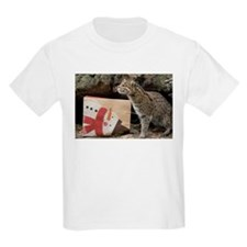 Ocelot with Snowman Bag Kids Light T-Shirt