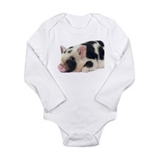 Micro pig chilling out Long Sleeve Infant Bodysuit