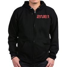 2NE1 red logo Zip Hoodie