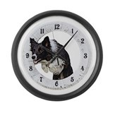 Unique Collies in agility Large Wall Clock