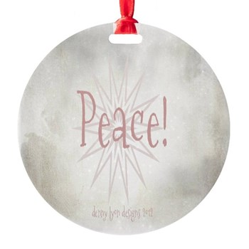 Peace Christmas Star Round Ornament